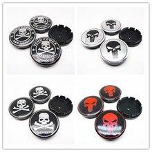 1pc 56mm Car Wheel Center Caps Hub Skull Zono Power Emblem Badge Auto Styling Rims Cover Accessories