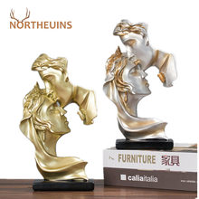 NORTHEUINS 26cm Resin Couple Statue Nordic Creative Kissing Lover Figurines For Interior Valentine's Day Present Home Decoration