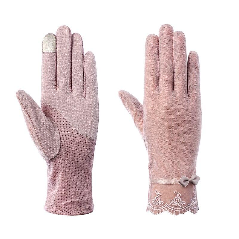 Summer Women UV Sunscreen Short Sun Screen Pearl Flowers Bow Gloves Thin Ice Silk Lace Touch Screen Viscose Driving Gloves J54