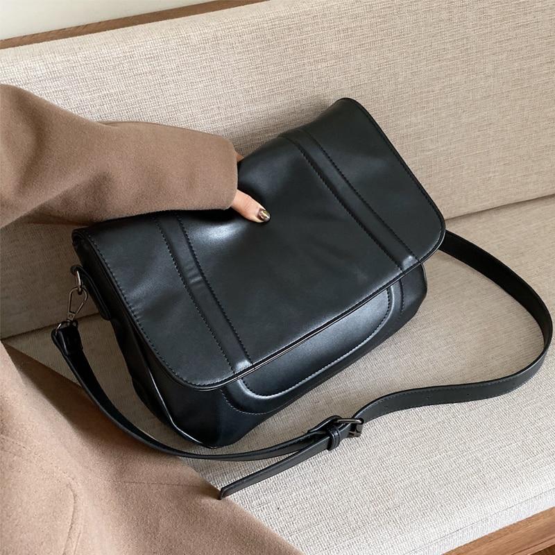 Black PU Leather Crossbody Bags For Women 2020 Fashion Small Shoulder Messenger Bag Lady Travel Handbags and Purses