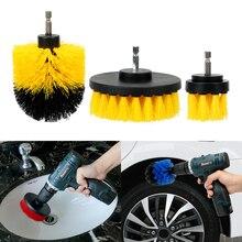 3pcs/set Car Auto Care Drill Scrubber Brush Kit Cleaning Tool Hard Bristle Car Brush Auto Detailing
