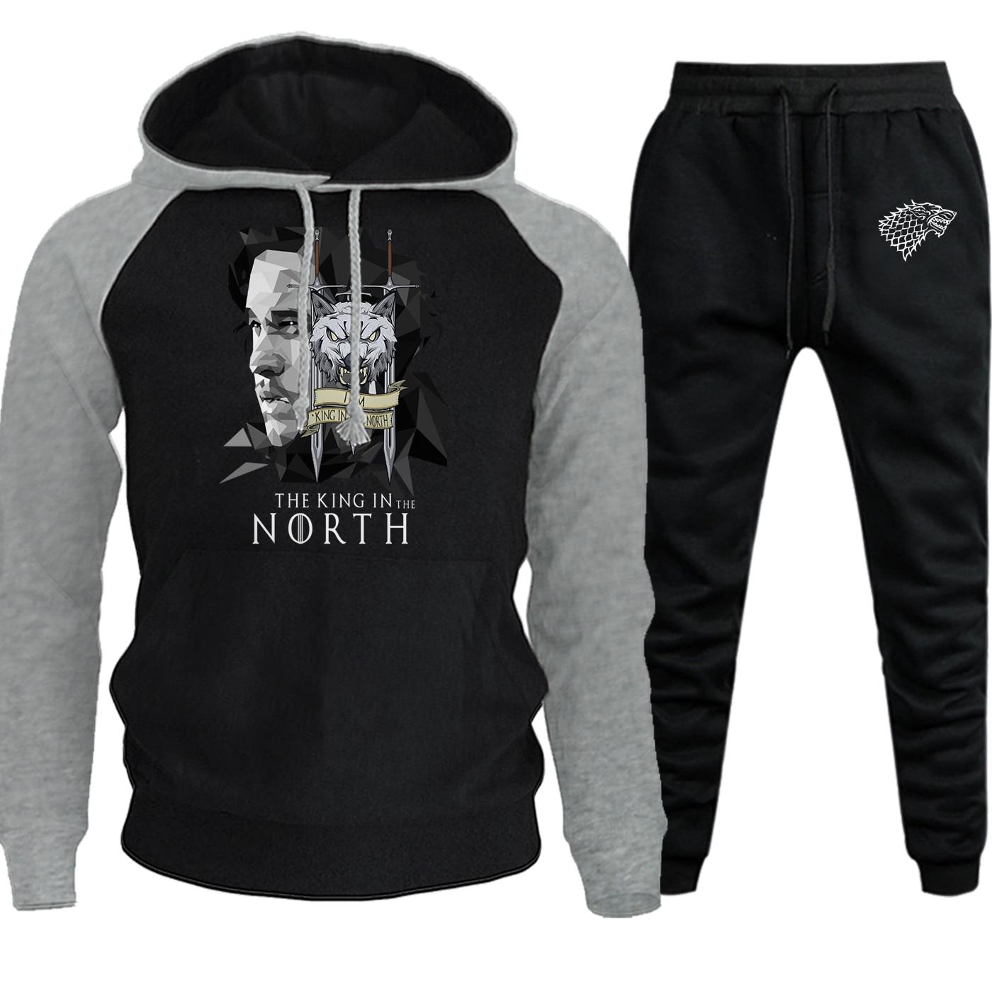 King In The North 2019 Autumn Winter Hoodies Men Raglan Sportswear Game Of Thrones Suit Male Fleece Pullover+Pants 2 Piece Set