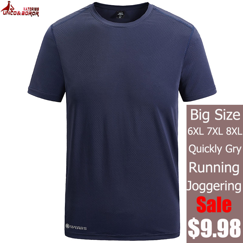 Plus size 7XL <font><b>8XL</b></font> Quick Dry Sport training <font><b>T</b></font> <font><b>Shirt</b></font> Men Short Sleeves Summer Casual Streetwear Tees GYM joggers Tshirt Clothes image