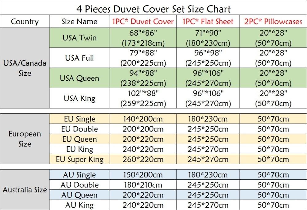 4pcs size chart
