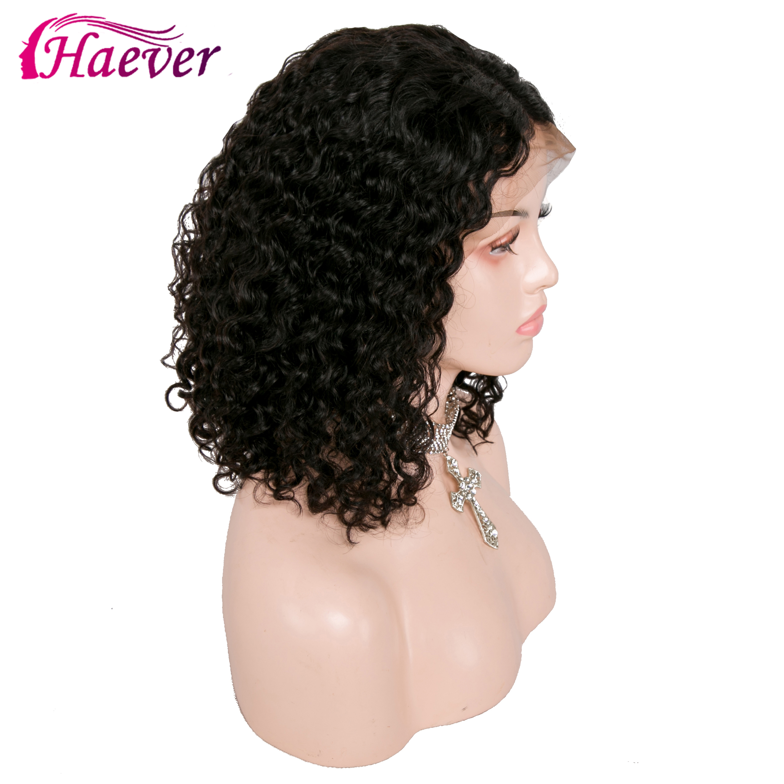 Haever 13x4 Human Hair Bob Wigs For Women Natural Black New Hair Brazilian Remy Kinky Curly Wave Lace Frontal Wig Pluck Bleached