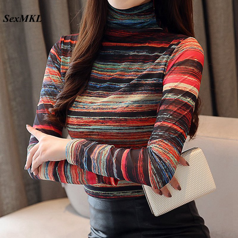 Plus Size Stipe Women Tops And Blouses 2019 Autumn Elegant Turtleneck Long Sleeve Blouse Sexy Office Ladies Casual Winter Shirts
