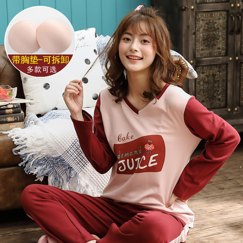 Pajamas Women's Thin Type For Spring And Autumn Long Sleeve Trousers Crew Neck Women's Japanese Korean Home Wear Two-Piece Set (