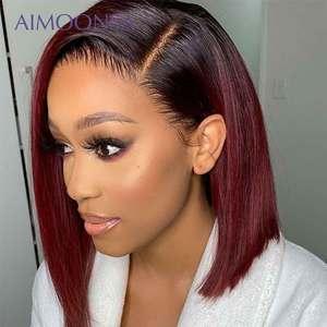 Image 2 - 4x4 dantel kapatma peruk bordo dantel ön peruk 130% renkli gölgeli insan saçı peruk kızıl saç düz 1B/99J kadınlar için remy
