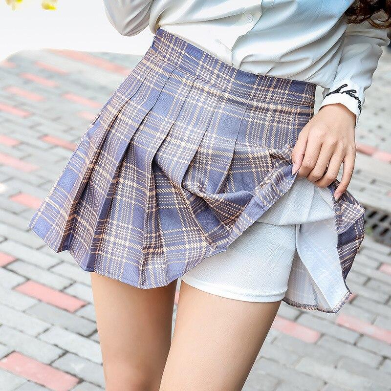 New Japanese Mini Skirt High Waist Pleated Skirts Jk Students Solid Hight Waist A-line Plaid Girl School Uniform Cosplay Skirt