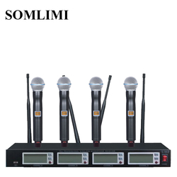 New High Quality Professional 4 channel  Wireless Microphone System stage performances a four wireless microphone