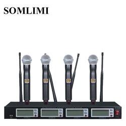 Nowy wysokiej profesjonalna jakość 4 kanałowy bezprzewodowy system mikrofonowy występy sceniczne cztery mikrofon bezprzewodowy
