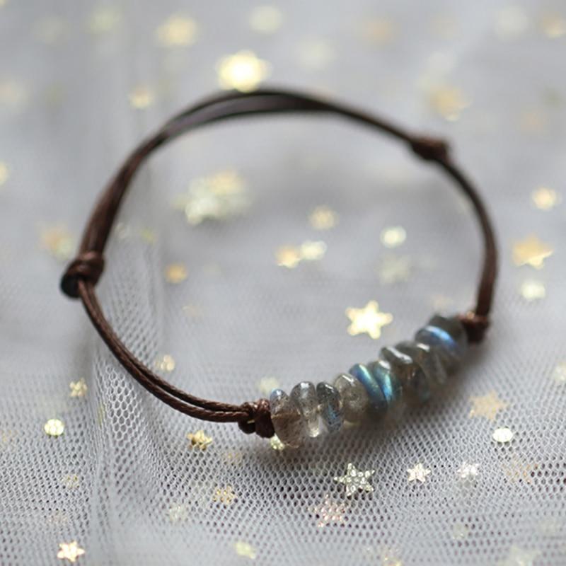 Элегантные браслеты во французском стиле ручной работы с кристаллами для женщин, кожаная цепочка, регулируемые браслеты из натурального ка...