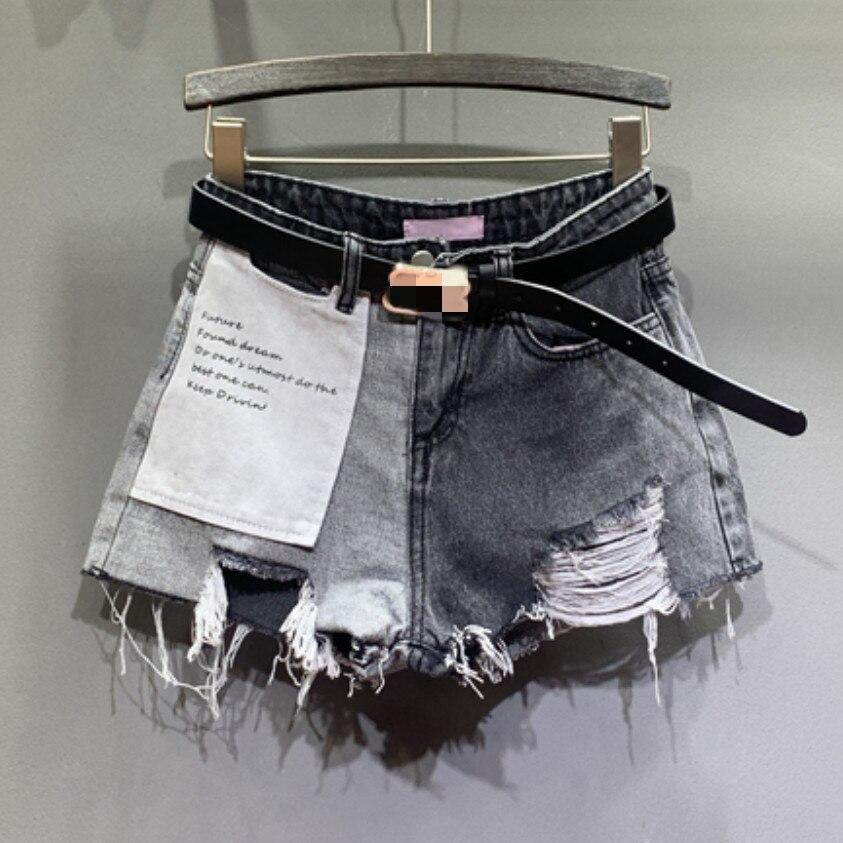 Plus Size 5XL!2020 Summer Casual Hole Denim Shorts Women High Waist Patch Loose Wide Leg Jeans Shorts
