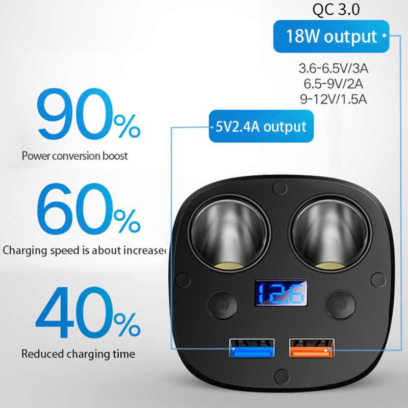 Автомобильный прикуриватель 2 USB 12 V-24 V переключатель зарядная розетка разветвитель напряжения светодиодный переходник Электрический универсальный авто аксессуары