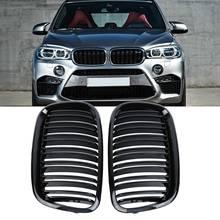 Samger EIN Paar X5 X6 Glanz Schwarz Doppel Lamellen Niere Kühlergrill Front Stoßstange Grill Für BMW X5 E70 X6 E71