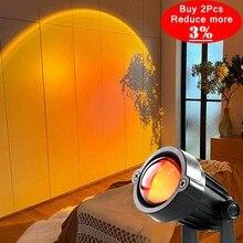 Arc-en-ciel Coucher de Soleil Projecteur Ambiance Veilleuse Accueil Café Boutique Décoration de Mur De Fond de Coucher De Soleil Coloré Lampe pour livraison directe