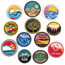 Outside Explore Nature Landscape Scenery Motif Traveller Tourist Morale Patch Embroidery Clothing Backpack Decor Badges(China)