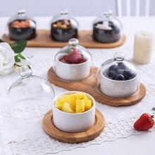 Conjuntos de bandeja de comida de tigela de salada de cerâmica com tampa de vidro conjunto de utensílios de mesa lanche secas frutas bolo placa bandeja decorativa salada sobremesa tigela