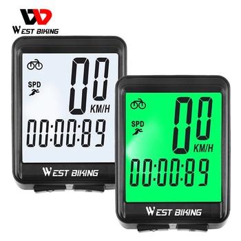 WEST BIKING Bicycle Computer MTB Road Wired Cycling Odometer Waterproof Backlight Bike Speedometer LED Rate Wireless Stopwatch