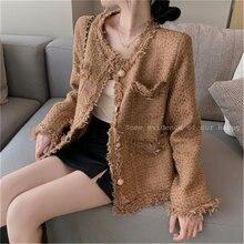 Элегантная плетеная Женская куртка осенняя Корейская Новая повседневная