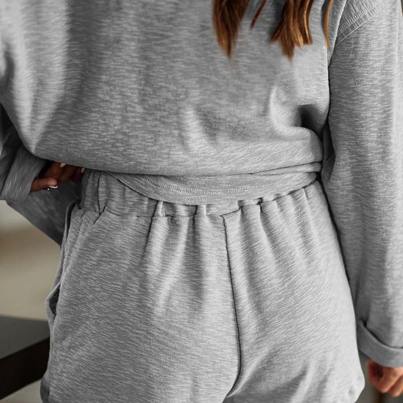 2020 New loungewear women pajama set summer breathable nightgown sleepwear indoor long sleeve sleep tops two pieces pijama mujer (23)