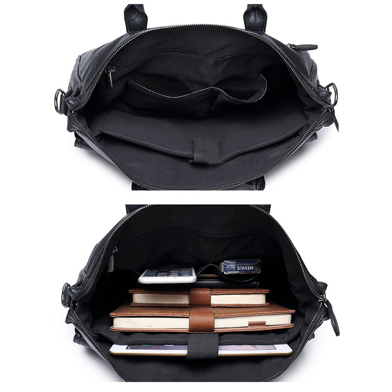 Image 5 - Scione Men's Leather Briefcase bag New Portable Business Bag For Men Office Laptop Messenger bag Leather Tote bagBriefcases   -