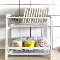 2 Tiers Wrought Iron Dish Plate Bowl Storage Stand Rack Drain Water Shelf for Kitchen White