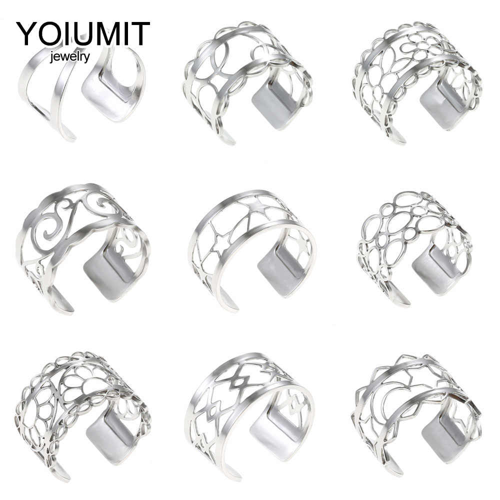Yoiumit แหวนสแตนเลสสำหรับผู้หญิง Bijoux Homme สไตล์ Cremo แหวนหนังเปลี่ยนได้ Bagues Femme เงิน