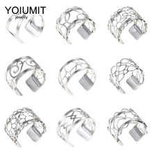 Yoiumit Stainless Steel Rings For Women Bijoux Homme Style Cremo Adjustable Ring Interchangeable Leather Bagues Femme Argent(China)