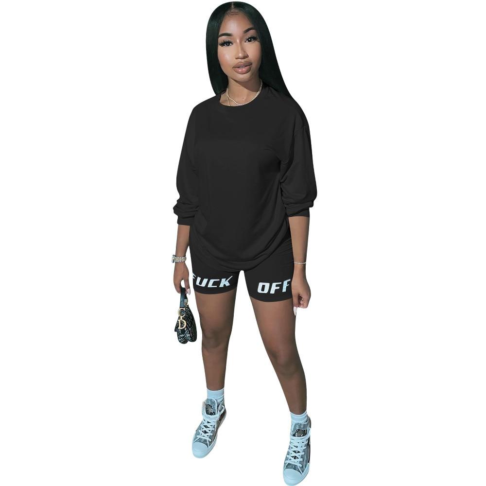 JENYAGE Women Matching Tracksuit Outfits Set Summer Fashion FUCK OFF Letter Print Short Casual Jersey Sweatpants Two Piece Set