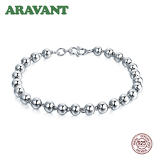 Real 925 Silver Bracelet For Women 4mm 5mm 6mm Bead Female Simple Fashion Jewelry Gift