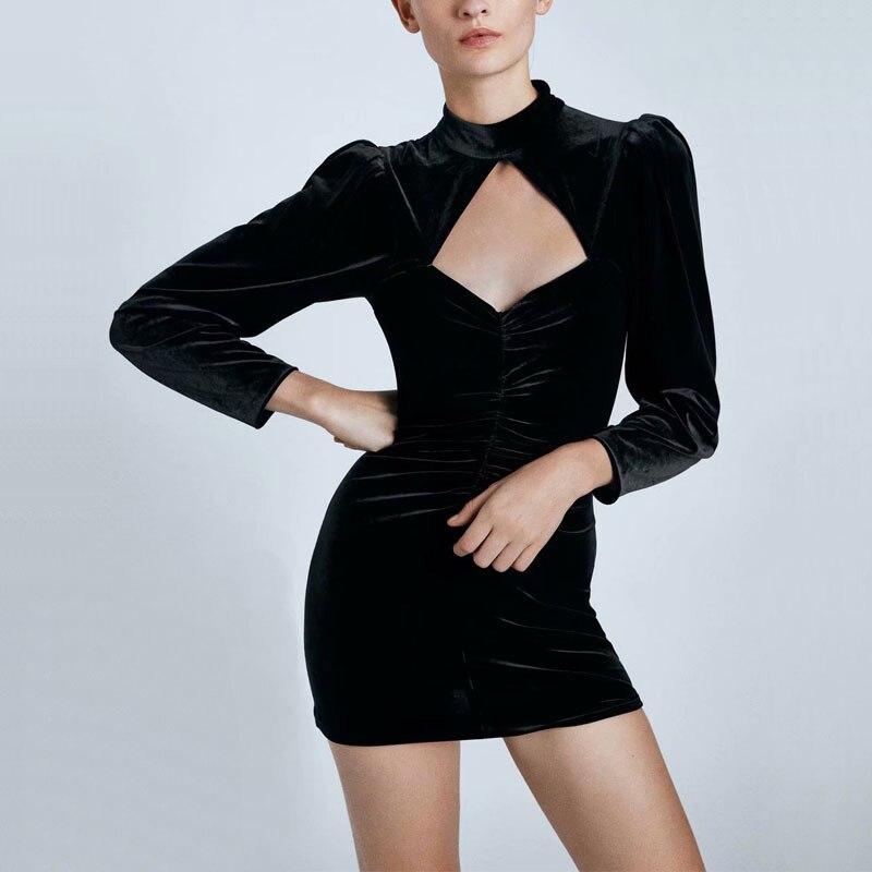 Fall Women Casual Dress Solid Color Hollow Design High-necked Long-sleeved Velvet Dress Slim Vestidos