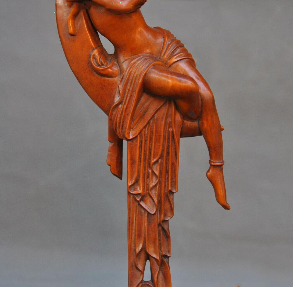Свадебные украшения китайский Самшит дерева ручной работы Мифы легенды Лотос Мун Чанг е статуэтку богини - 4