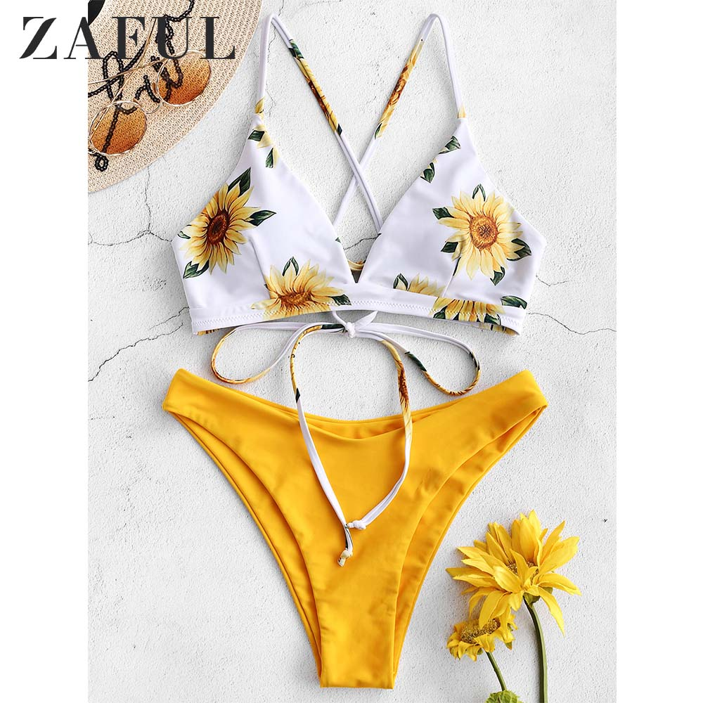 ZAFUL Sunflower Print Lace-Up Crisscross Bikini Set High Cut Swimsuit Floral Push Up Swimwear Women Padded Bathing Suit 2019
