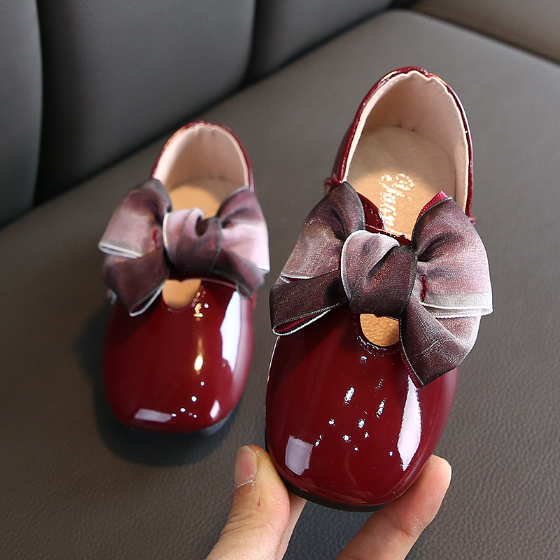 2019 New Bow Girl Leather Shoes For School Autumn Party Big Kids Princess Wedding Children Shoes 3 4 5 6 7 8 9 10 11 12 Year