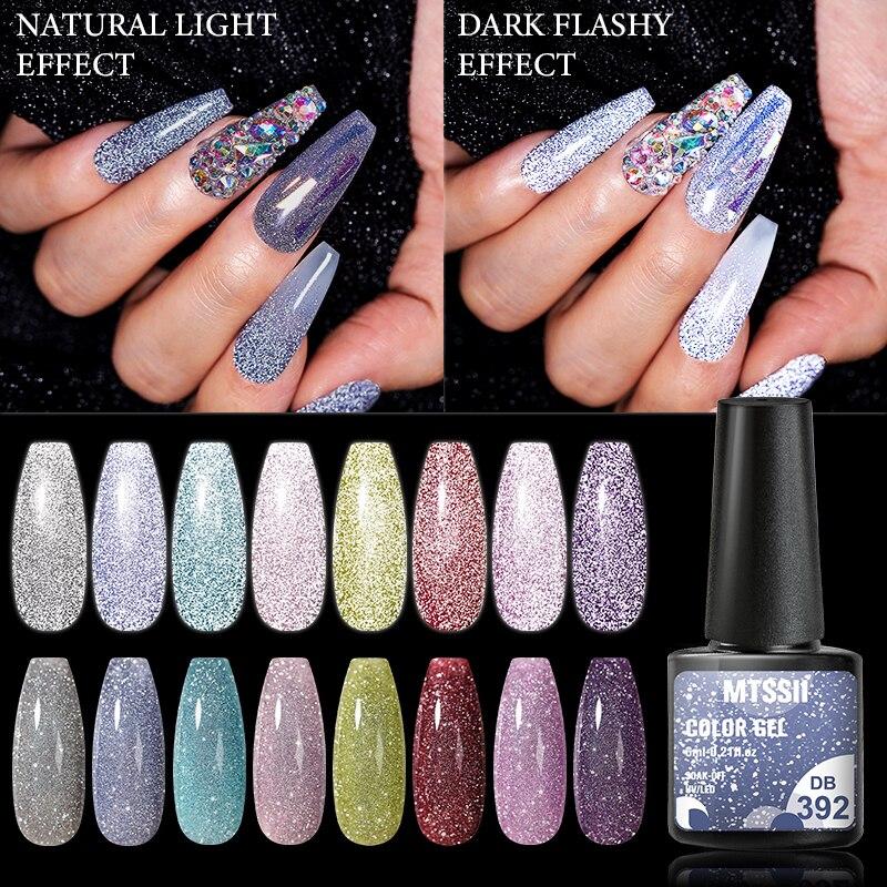 Mtssii светоотражающий Блестящий Гель-лак для ногтей 6 мл сверкающий Auroras лазерный гель для ногтей лак для дизайна ногтей Полупостоянный верхн...