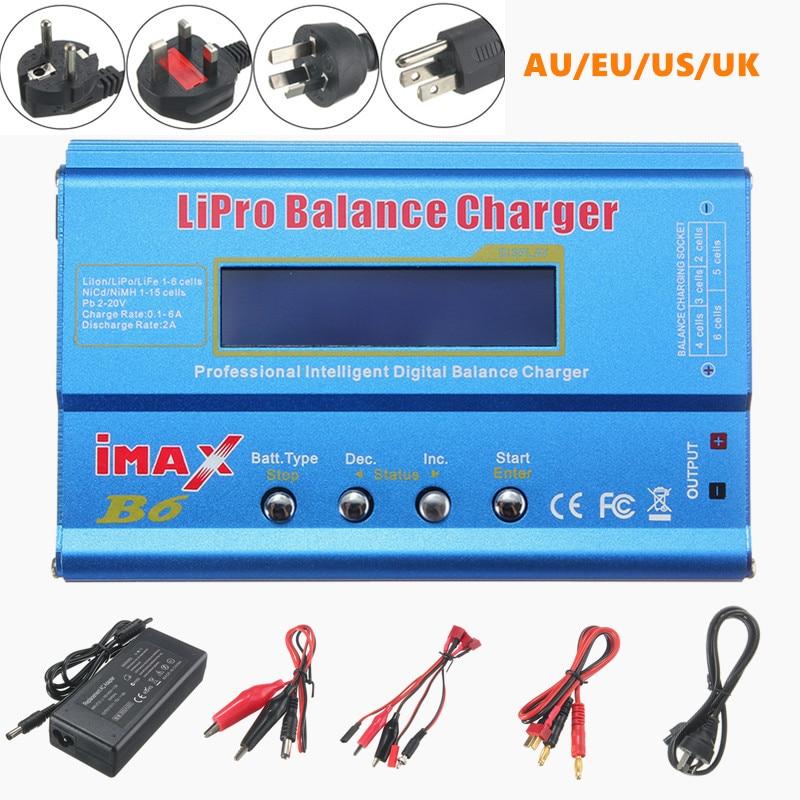 IMAX B6 Цифровое Зарядное устройство 80 Вт 1-6S Lipo NiMH, зарядное устройство с адаптером для США, Великобритании, ЕС, Австралии Plus для радиоуправляем...