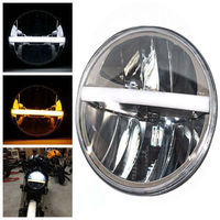 2Pcs 7inch Round LED Headlight Reflector White Amber LED Headlamp for Jeep Wrangler Patrol Y60 Road King