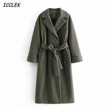 Женское длинное пальто с поясом зеленое шерстяное длинными рукавами