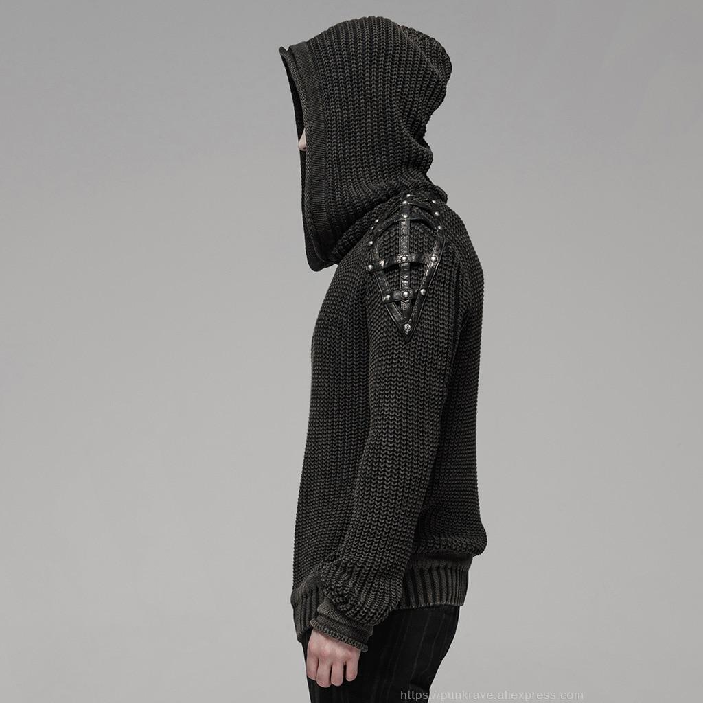 PUNK RAVE Punk Vintage con capucha negro suéter Steampunk Retro suéter Halloween hombre Casual moda oscuro Streetwear pulóvers - 2