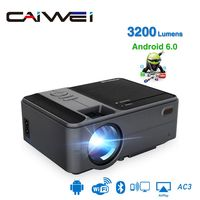 CAIWEI MINI Projector C180AB 1280x720P Android 6.0 WIFI Proyector Portable LED Beamer for 4K Video 3D Home Cinema with gift