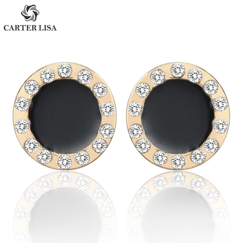 CARTER LISA Trendy Geometric Round Rhinestone Stud Earrings For Girl Black Color Ear Jewelry Crystal Stud Earrings Gift Jewelry
