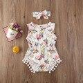 Одежда для новорожденных Одежда для маленьких девочек летний комплект одежды без рукавов с О-образным вырезом с цветочным рисунком Pom кисто...
