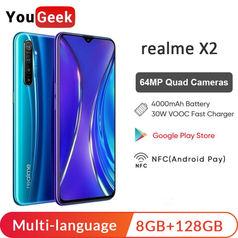 Global Version realme X2 X 2 8GB 128GB Moblie Phone Snapdragon 730G 64MP Quad Camera  6.4'' NFC Cellphone VOOC 30W EU Charger