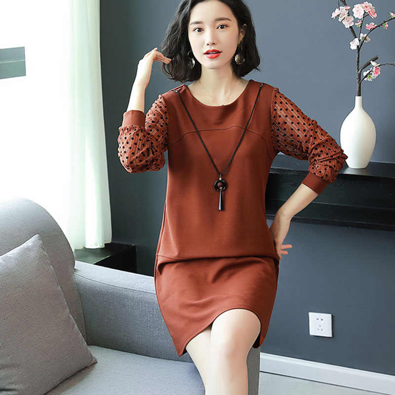 2019 Autumn New Style Korean-style Long-Sleeved Loose-Fit Mid-length Dress Plus-sized Womenswear Size Cover Belly Tibetan Meat P