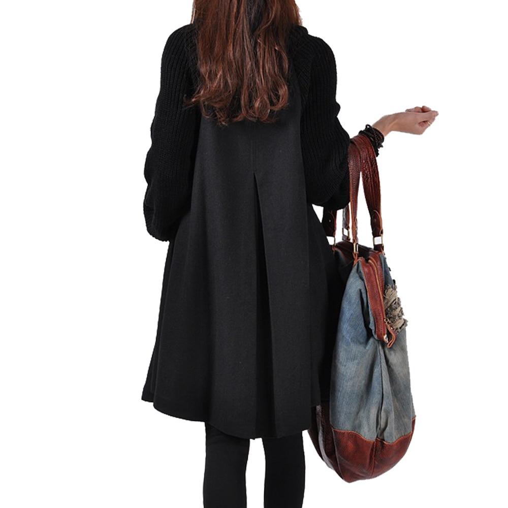 Autumn Winter Coat Women 2019 Casual Vintage Patchwork Cloak Plus Size Coats Female Elegant Warm Black Long Coat casaco feminino 4