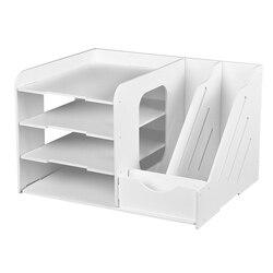 DIY bandeja de documentos escritorio caja de almacenamiento multifunción lápiz archivador organizador de Escritorio de oficina útiles escolares
