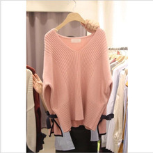 Autumn 2019 Sweater New Women Wear Sets of Lazy White V-neck Pullover Knitted Sweater V-Neck Pullovers Women Sweater стоимость
