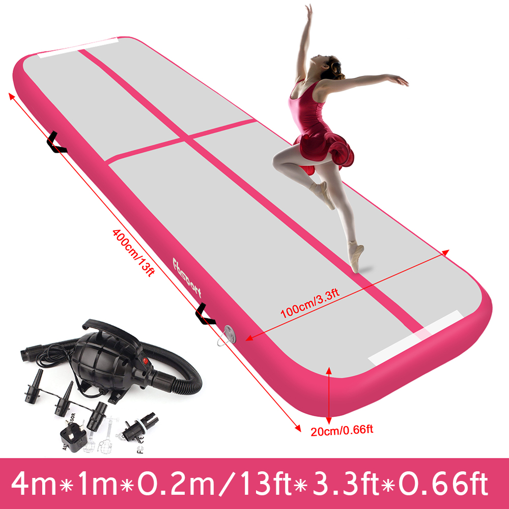 20cm Thick Pink 4m*1m*0.2m Inflatable Air Track Tumbling Gymnastic Mat Floor Home Training Yoga,Safty Mat,Tumbling, Home Floor