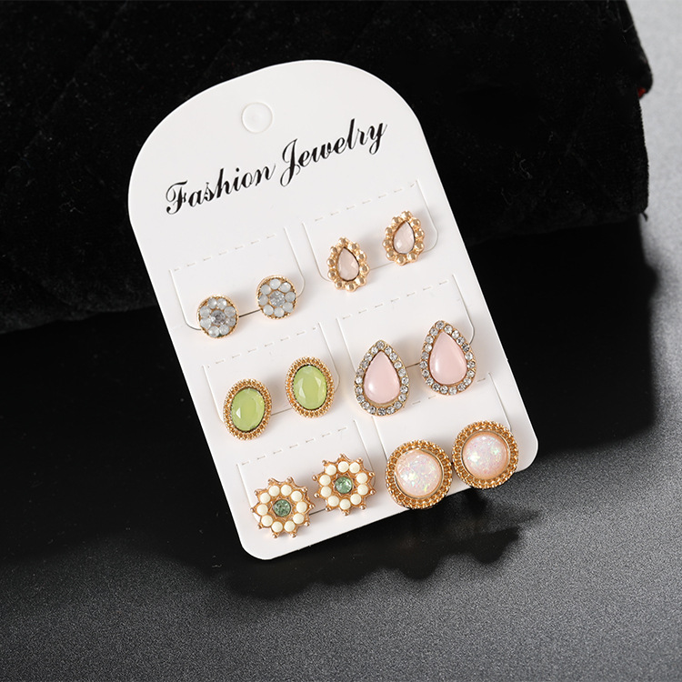 Hot New Earrings 6 Pairs of Set Gemstone Wholesale European and American Fashion Jewelry Earing for Women